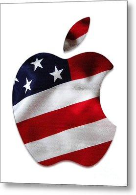 American Flag Apple Metal Print by Marvin Blaine