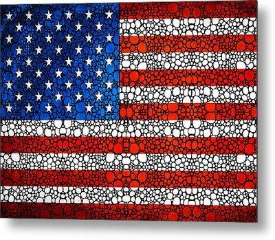 American Flag - Usa Stone Rock'd Art United States Of America Metal Print by Sharon Cummings