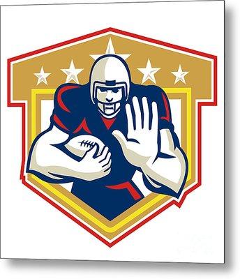 American Football Running Back Fending Shield Metal Print by Aloysius Patrimonio