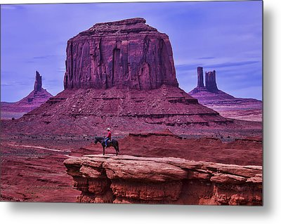 American Indian At Over Look Metal Print by Garry Gay