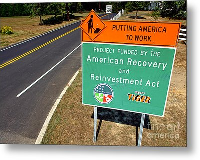 American Recovery And Reinvestment Act Road Sign Metal Print by Olivier Le Queinec