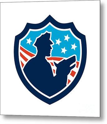 American Security Guard With Police Dog Shield Metal Print by Aloysius Patrimonio