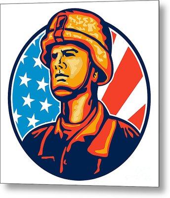 American Serviceman Soldier Flag Retro Metal Print by Aloysius Patrimonio
