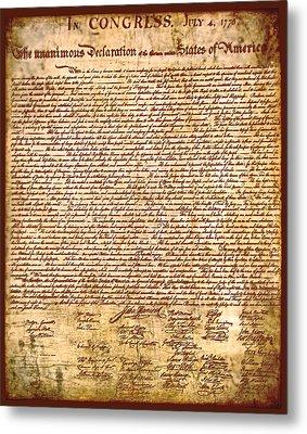 America's Declaration Of Independence  Metal Print by Li   van Saathoff