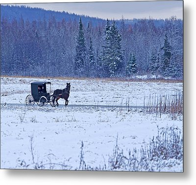 Amish Carriage Metal Print by Jack Zievis