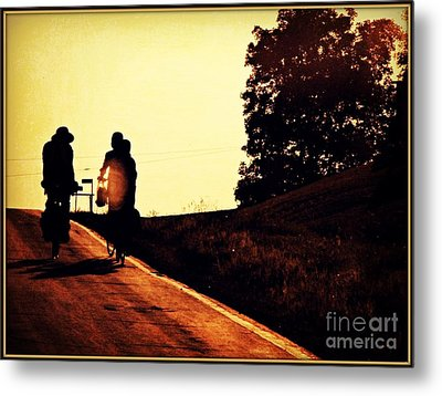 Amish Family Cycles Into Sunset Metal Print by Beth Ferris Sale