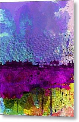 Amsterdam Watercolor Skyline Metal Print by Naxart Studio