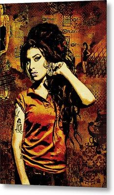 Amy Winehouse 24x36 Mm Reg Metal Print by Dancin Artworks