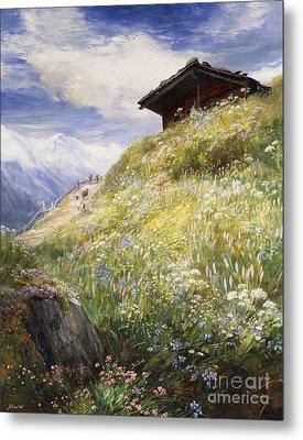 An Alpine Meadow Switzerland Metal Print by John  MacWhirter