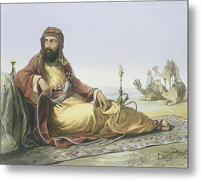 An Arab Resting In The Desert, Title Metal Print by Emile Prisse d'Avennes