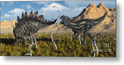 An Armor Plated Stegosaurus Defending Metal Print by Mark Stevenson