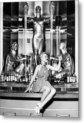 Sexy Woman On The Bar Metal Print by Underwood Archives