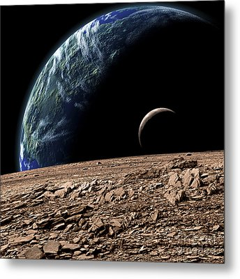 An Earth-like Planet In Deep Space Metal Print by Marc Ward