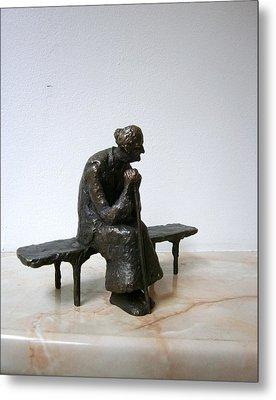 An Elderly Woman On A Bench Metal Print by Nikola Litchkov
