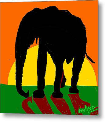 An Elephant And Sun Metal Print by Anand Swaroop Manchiraju