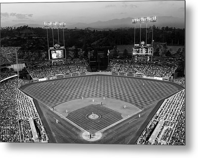 An Evening Game At Dodger Stadium Metal Print by Mountain Dreams