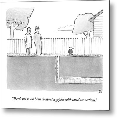 An Exterminator And Home-owner Look Metal Print by Paul Noth