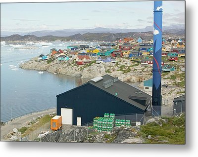 An Oil Fired Power Plant In Ilulissat Metal Print by Ashley Cooper