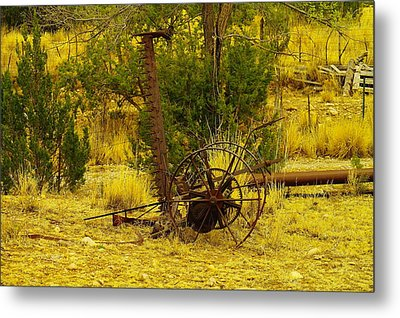 An Old Grass Cutter In Lincoln City New Mexico Metal Print by Jeff Swan