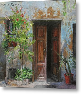An Open Door Milan Italy Metal Print by Anna Rose Bain