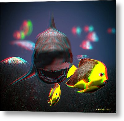 Anaglyph Shark And Fishes Metal Print by Ramon Martinez