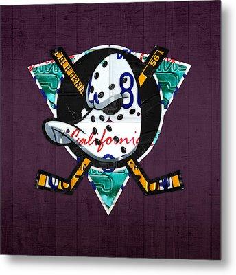 Anaheim Ducks Hockey Team Retro Logo Vintage Recycled California License Plate Art Metal Print by Design Turnpike