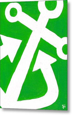 Anchor- Green Metal Print by Catherine Peters