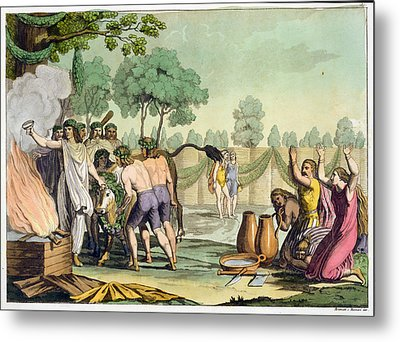 Ancient Celts Or Gauls Sacrificing Metal Print by Vittorio Raineri