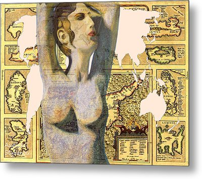 Ancient Cyprus Aphrodite And World Map  Metal Print by Augusta Stylianou