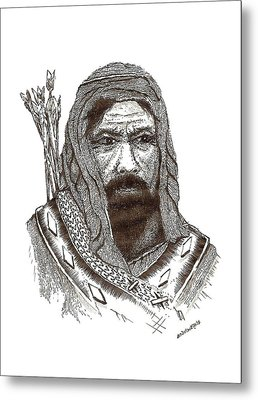 Ancient Hunter A Pen And Ink Drawing Metal Print by Mario Perez
