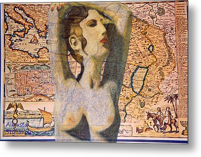 Ancient Middle East Map And Aphrodite Metal Print by Augusta Stylianou