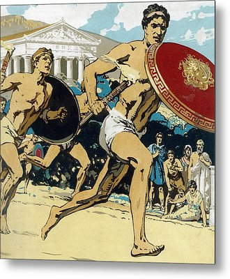 Ancient Olympic Games  The Relay Race Metal Print by Unknown