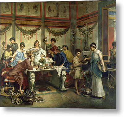 Ancient Roman Feast Metal Print by Getty Research Institute