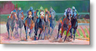 And Down The Stretch They Com Metal Print by Kimberly Santini