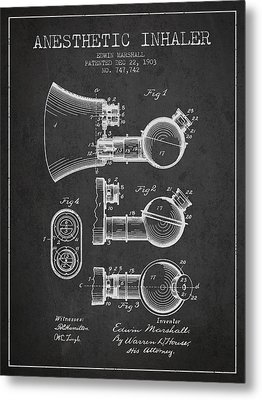 Anesthetic Inhaler Patent From 1903 - Charcoal Metal Print by Aged Pixel