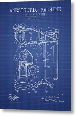 Anesthetic Machine Patent From 1919 - Blueprint Metal Print by Aged Pixel