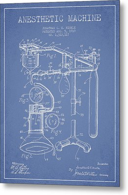 Anesthetic Machine Patent From 1919 - Light Blue Metal Print by Aged Pixel