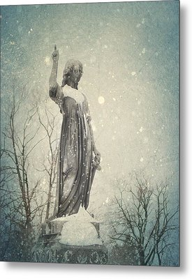 Angel And Snow Metal Print by Gothicolors Donna Snyder