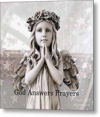 Angel Girl Praying - Christian Angel Art - Little Girl Praying Angel Art - God Answers Prayers Metal Print by Kathy Fornal
