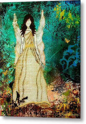 Angel In The Garden Inspirational Abstract Mixed Media Art Metal Print by Janelle Nichol