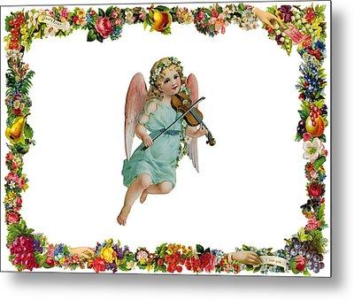 Angel Playing The Lute Metal Print by Munir Alawi