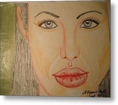 Angelina Jolie Metal Print by Fladelita Messerli-