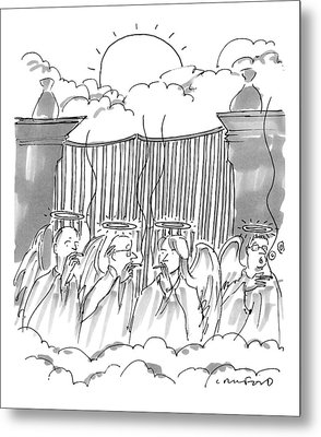 Angels Smoking Outside Of The Gates Of Heaven Metal Print by Michael Crawford