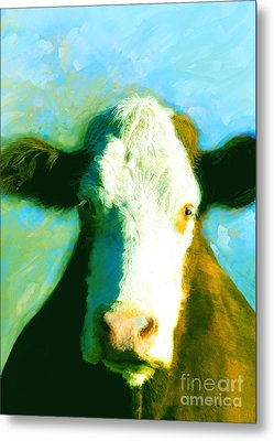 Animals Cows Sun And Shadow Painting By Ann Powell Metal Print by Ann Powell
