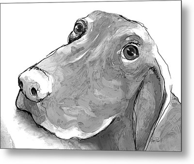 animals - dogs - Feed Me Please Metal Print by Ann Powell