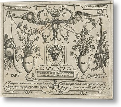 Animals, Plants And Fruits Around A Skull Metal Print by Jacob Hoefnagel