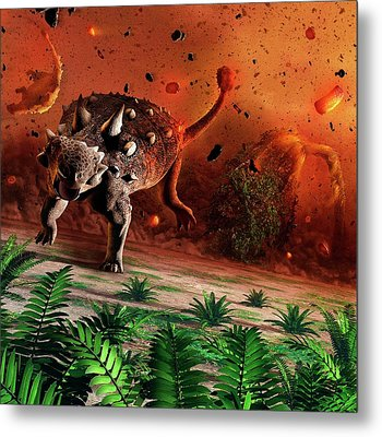 Ankylosaurs Caught In Blast Wave Metal Print by Mark Garlick