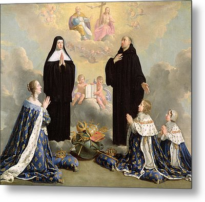 Anne Of Austria 1601-66 And Her Children At Prayer With St. Benedict And St. Scholastica, 1646 Oil Metal Print by Philippe de Champaigne