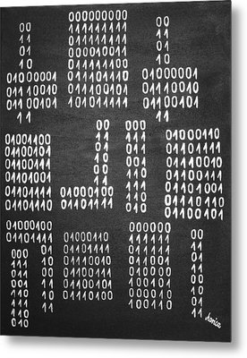 Anonymous - Binary Painting By Marianna Mills Metal Print by Marianna Mills