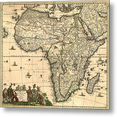 Antique Africa Map Metal Print by Gary Grayson